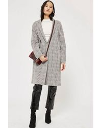 TOPSHOP - Checked Jersey Chuck On Coat - Lyst