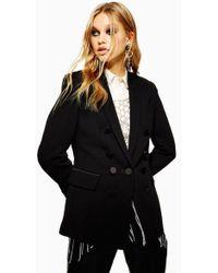 TOPSHOP Satin Button Tuxedo Jacket - Black