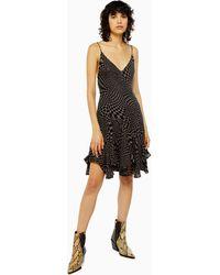 TOPSHOP - Tall Idol Godet Checkboard Mini Flippy Dress - Lyst