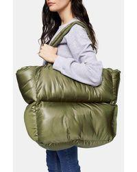 TOPSHOP Considered Casa Khaki Puffer Tote Bag - Green