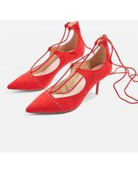 TOPSHOP - Janey Tie Up Mid Shoe - Lyst