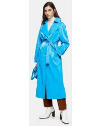 TOPSHOP - Bright Blue Pu Trench - Lyst