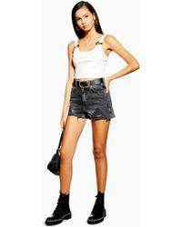 TOPSHOP Denim Mom Shorts With Rips - Black
