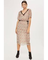 TOPSHOP - Lace Embroidered Ditsy Midi Dress - Lyst