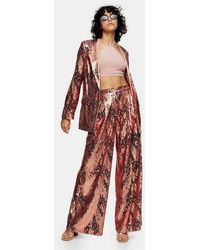 TOPSHOP Idol Copper Sequin Wide Leg Trousers - Red