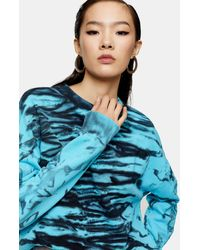 TOPSHOP tie Dye Sweatshirt By Boutique - Blue