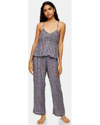 TOPSHOP Blue Floral Print Cami Pajama Set