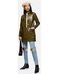 TOPSHOP Vinyl Car Coat - Green