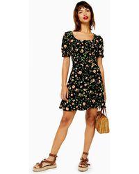 TOPSHOP - Prairie Floral Button Mini Dress - Lyst
