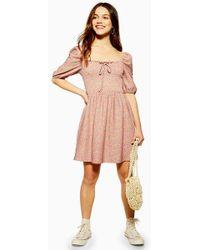 14abd95c3365 TOPSHOP Lace Insert Slip Dress in Pink - Lyst