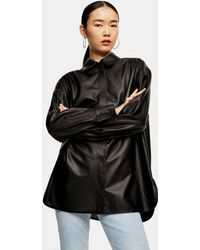 TOPSHOP Airtex Leather Shirt By Boutique - Black