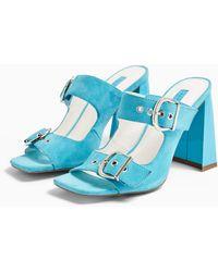 TOPSHOP Regine Leather Blue Buckle Mules