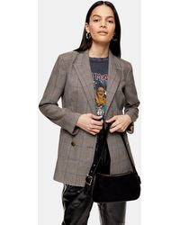 TOPSHOP Check Double Breasted Blazer - Brown