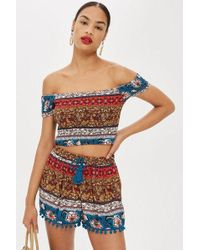 57c7cc8c76f173 Band Of Gypsies Patchwork Tile Crop Top By in Blue - Lyst