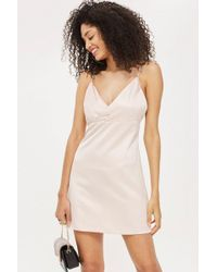 TOPSHOP - Diamante Strap Mini Slip Dress - Lyst