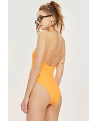 TOPSHOP - Straight Neck Wide Ribbed Swimsuit - Lyst