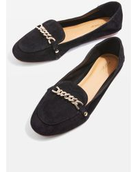 TOPSHOP   Loco Chain Trim Suede Loafers   Lyst