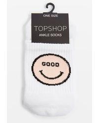 TOPSHOP - 'good Vibes' Tube Socks - Lyst