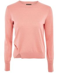 TOPSHOP - Knitted Crew Neck Jumper - Lyst