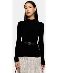 TOPSHOP Black Chenille Knitted Top