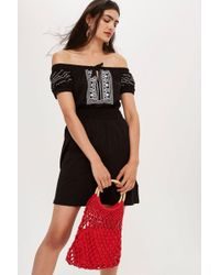 TOPSHOP - Petite Embroidered Spot Bardot Dress - Lyst