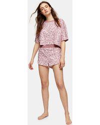 TOPSHOP Pyjama droit rose poudré léopard