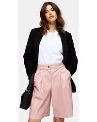 TOPSHOP Pink Pu Culottes