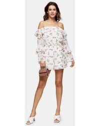 TOPSHOP Hite Floral Print Bardot Playsuit - White