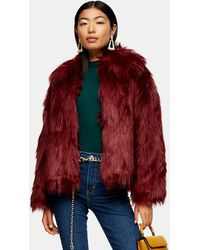 TOPSHOP Luxe Faux Fur Coat - Red