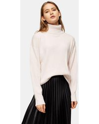 TOPSHOP - Pink Knitted Turtle Neck Sweater With Cashmere - Lyst