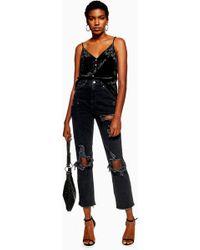 TOPSHOP - Schwarze Jeans im Destroyed-Look mit geradem Beinschnitt - Lyst