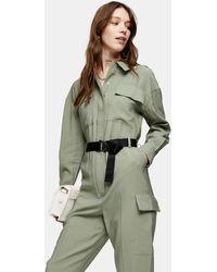 TOPSHOP Khaki Belted Boiler Suit - Natural