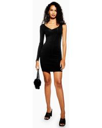 a29258b6e808b TOPSHOP Long Sleeve Velvet Gold Bodycon Dress By Oh My Love in Black ...