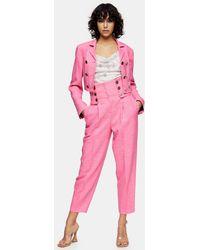 TOPSHOP Idol High Waisted Peg Pants - Pink
