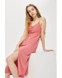 TOPSHOP - Ruched Front Midi Dress - Lyst