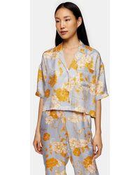 TOPSHOP Blue Floral Spot Boxy Pyjama Shirt