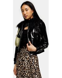 TOPSHOP Black Faux Fur Collar Pu Coat
