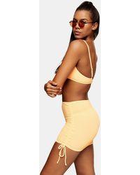TOPSHOP Orange Crinkle Swim Skirt