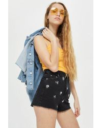 TOPSHOP - Floral Embroidered Mom Shorts - Lyst