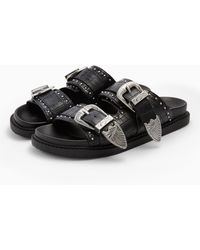 TOPSHOP - Peru Black Buckle Footbed Sandals - Lyst