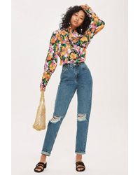 TOPSHOP - Moto Mid Blue Ripped Mom Jeans - Lyst