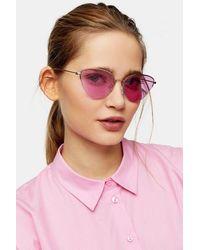TOPSHOP Baby Phoenix Pink Feline Sunglasses - Metallic