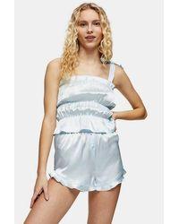 TOPSHOP Blue Satin Ruched Cami Pyjama Set