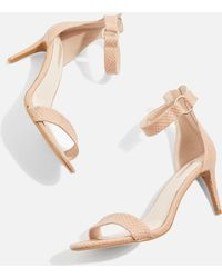 TOPSHOP - Nude Ring Heeled Sandals - Lyst