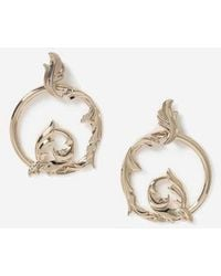 TOPSHOP ornate Open Hoop Earrings - Metallic