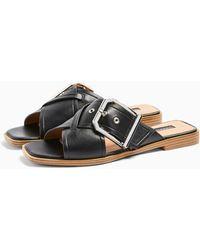 TOPSHOP Porto Black Buckle Sandals