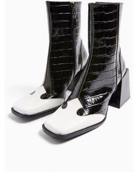 TOPSHOP Heaven Leather Black And White Block Boots