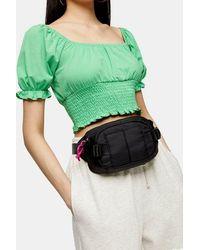 TOPSHOP Black Nylon Pocket Bumbag