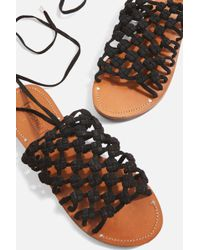 TOPSHOP - Friday Woven Lace Up Sandals - Lyst