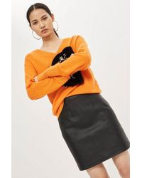 TOPSHOP - Tall Highwasted Faux Leather Skirt - Lyst